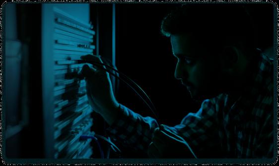 man building server